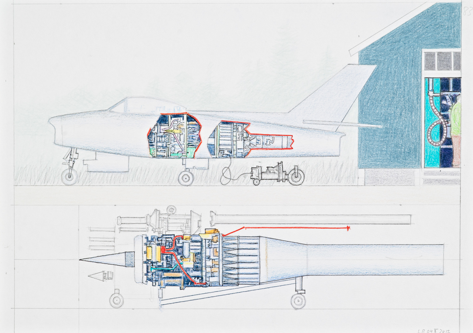 Osl Contemporary Leonard Rickhard Paper Airplane Diagrams Untitled 2012 Pen Pencil Coloured On 21 X 284 Cm 275 37 Framed